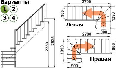 Лестница   К-001м/1 П c подступенками сосна (6уп)