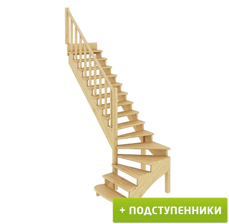 Лестница   К-001м/3 Л c подступенками сосна (6уп)