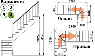 Лестница   К-001м/4  П  сосна (6 уп)