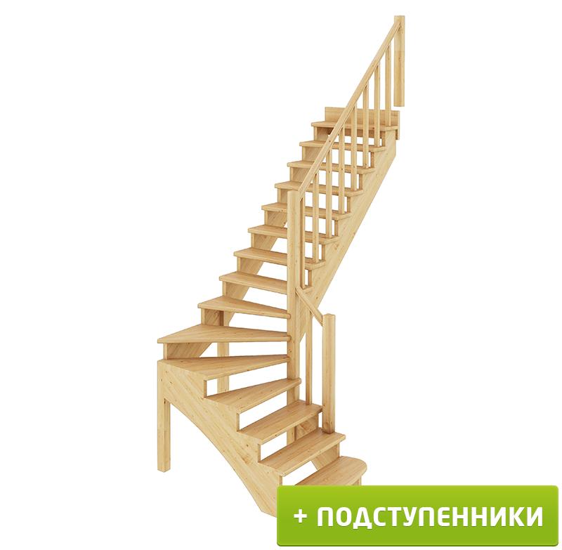 Лестница   К-001м/4 П c подступенками сосна (7уп)