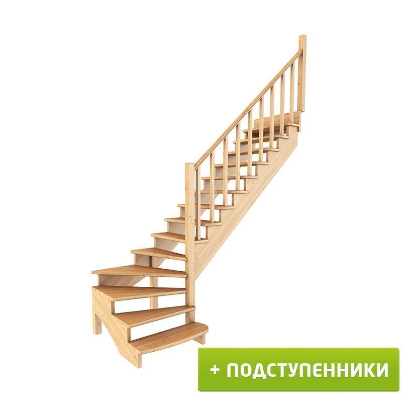 Лестница   К-001м/7  П c подступенками сосна (6 уп)
