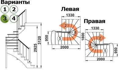Лестница  К-003м/3  Л  сосна (5 уп)