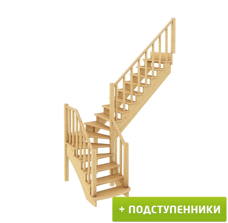 Лестница  К-021м П с подступенками сосна (7 уп)