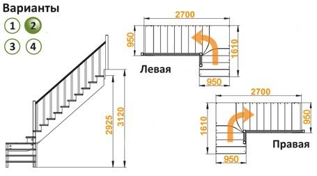 Лестница  К-031м/2 П  сосна (5 уп.)