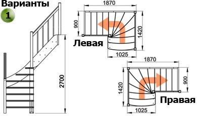 Лестница  ЛС-09м/1 Л сосна  (3 уп)