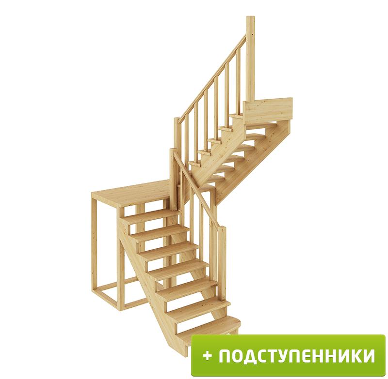 Лестница  К-004м/1 П с подступенками сосна (7 уп)