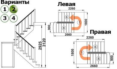 Лестница  К-004м/2 Л с подступенками сосна  (7 уп)