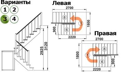 Лестница  К-004м/3  Л  сосна (6 уп)