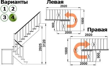 Лестница  К-004м/4 П с подступенками сосна  (7 уп)