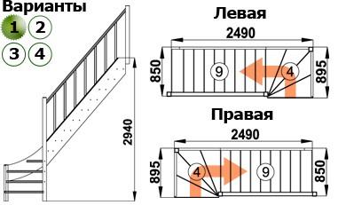 Лестница  ЛС-07м/1  П  сосна  (3 уп)