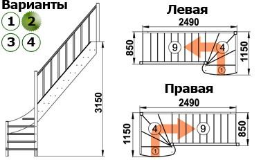 Лестница  ЛС-07м/2  П  сосна  (3 уп)