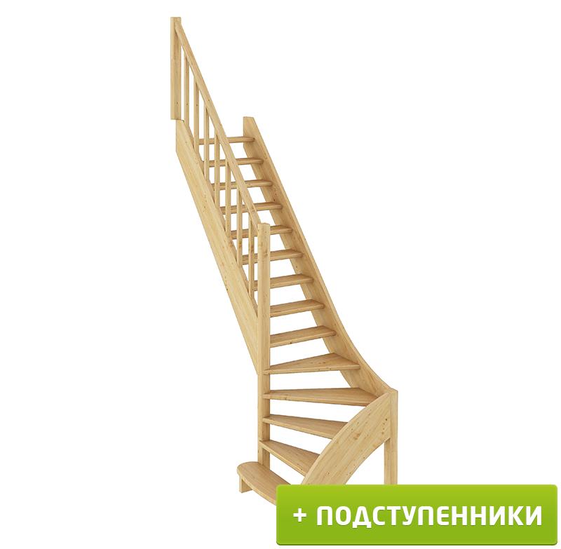 Лестница  ЛС-07м/3 Л с подступенками сосна  (4 уп)