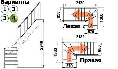Лестница  ЛС-07м/4 Л с подступенками сосна
