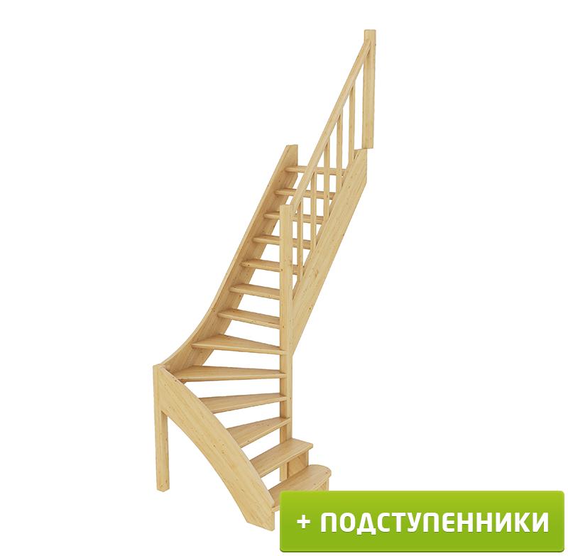 Лестница  ЛС-07м/4 П с подступенками сосна