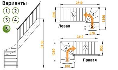 Лестница  ЛС-07м/5 П с подступенками сосна (4уп)